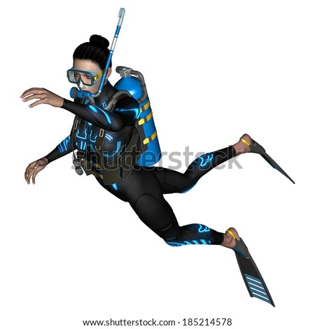 3D digital render of a female diver with a mask isolated on white background - stock photo