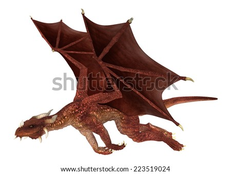 3D digital render of a flying red fantasy dragon isolated on white background - stock photo