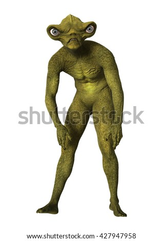3D digital render of a green alien isolated on white background