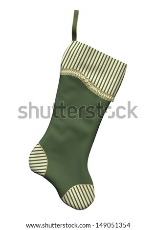 3D digital render of a green Christmas stocking isolated on white background - stock photo