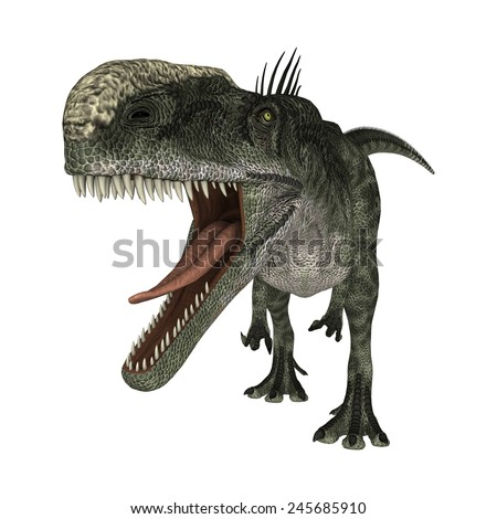 3D digital render of a hungry dinosaur Monolophosaurus isolated on white background