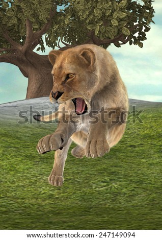 3D digital render of a hunting female lion on a green forest background - stock photo