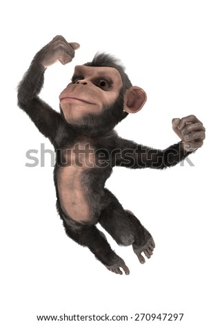3D digital render of a jumping little chimpanzee isolated on white background