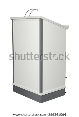 3D digital render of a lectern isolated on white background