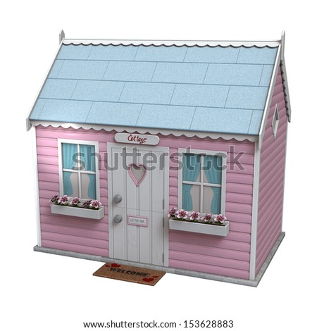 3D digital render of a little pink fairy cottage isolated on white background
