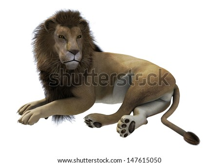 3D digital render of a lying male lion isolated on white background - stock photo