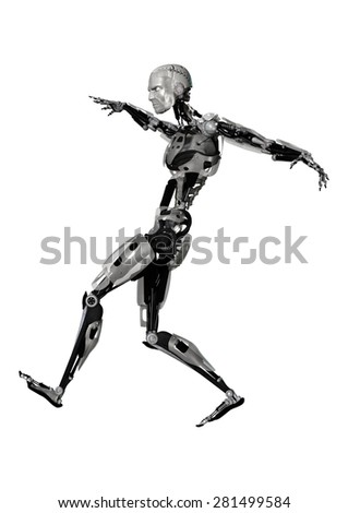 3D digital render of a male cyborg running isolated on white background - stock photo