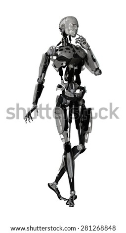 3D digital render of a male cyborg thinking isolated on white background