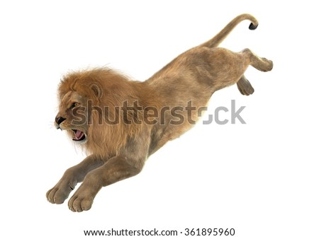 3D digital render of a male lion jumping isolated on white background