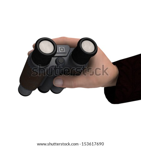 3D digital render of a mans hand holding binoculars isolated on white background