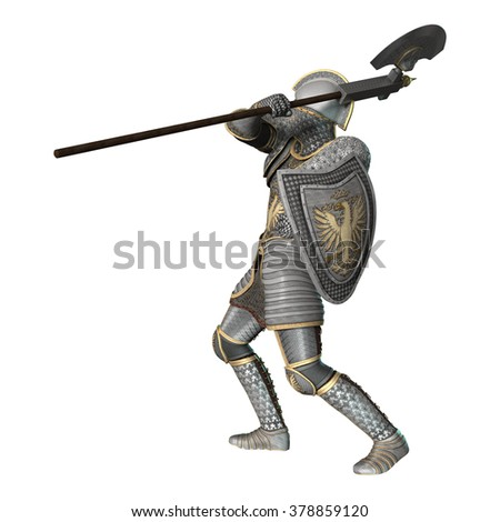 3D digital render of a medieval knight fighting isolated on white background