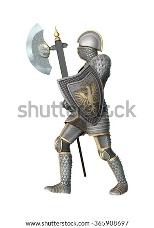 3D digital render of a medieval knight isolated on white background