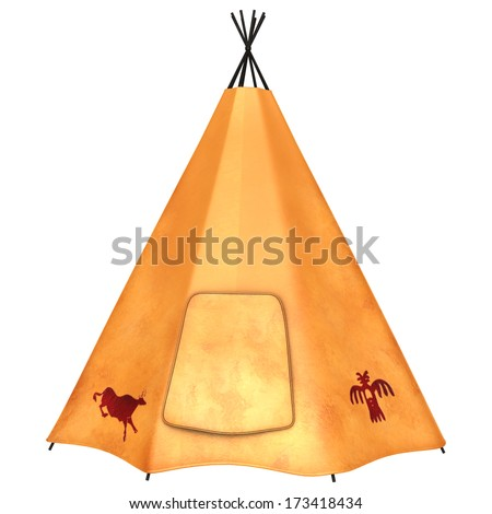 3D digital render of a native American teepee isolated on white background - stock photo