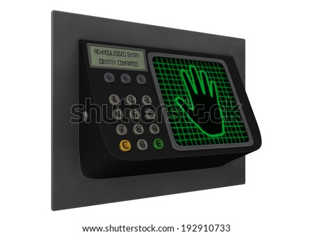 3D digital render of a palmprint lock isolated on white background