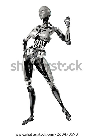 3D digital render of a posing female cyborg isolated on white background - stock photo