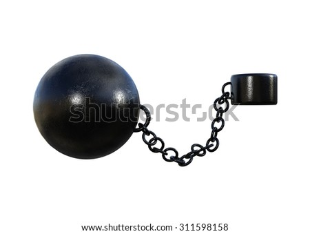 3D digital render of a prisoner ball and a chain isolated on white background