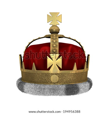 3D digital render of a royal crown isolated on white background - stock photo