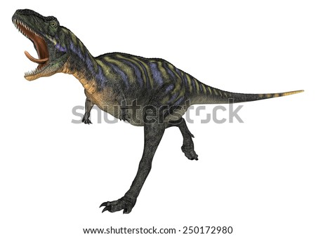 3D digital render of a running and screaming dinosaur Aucasaurus isolated on white background - stock photo