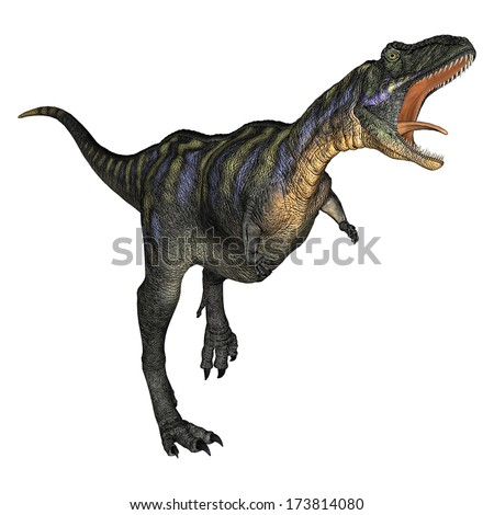3D digital render of a running dinosaur Aucasaurus isolated on white background