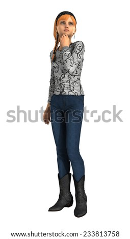 3D digital render of a sad teenager girl isolated on white background - stock photo