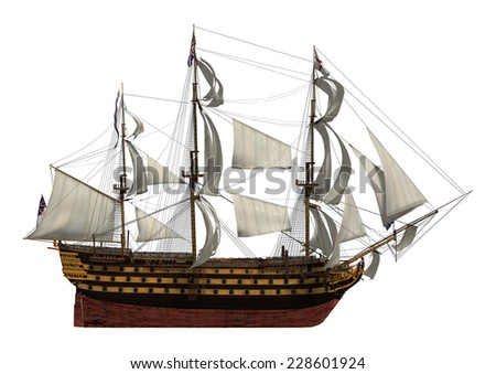 3D digital render of a sailing ship with a British flag isolated on white background