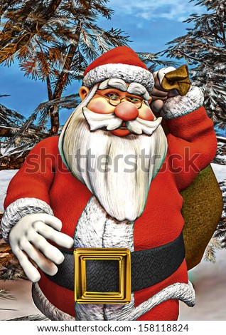 3D digital render of a Santa walking and carrying a sack with gifts in a winter forest, painting effect