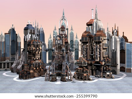 3D digital render of a science fiction futuristic city on grey sky background - stock photo