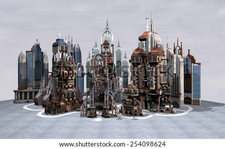3D digital render of a sience fiction futuristic city on a grey sky background - stock photo