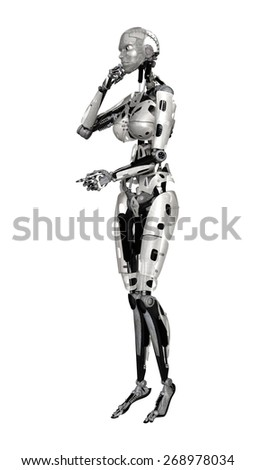 3D digital render of a thinking female cyborg isolated on white background