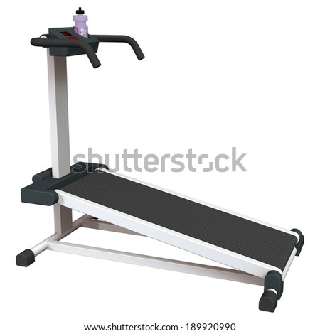 3D digital render of a treadmill isolated on white background