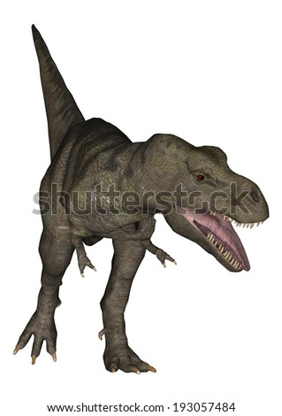 3D digital render of a Tyrannosaurus Rex isolated on white background