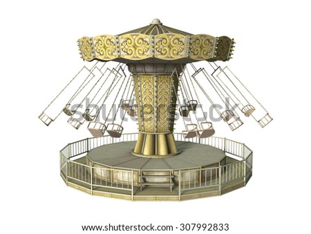 3D digital render of a vintage swing carousel isolated on white background