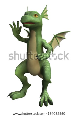 3D digital render of a waving little dragon isolated on white background