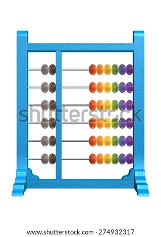 3D digital render of an abacus isolated on white background