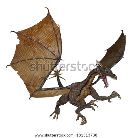 3D digital render of an evil fantasy dragon isolated on white background - stock photo