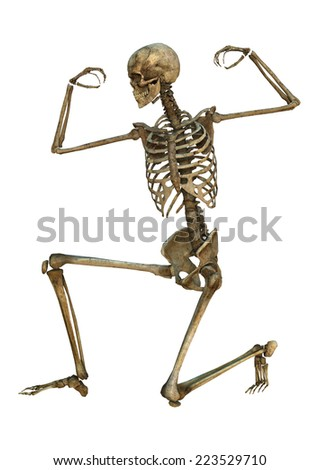 3D digital render of an exercising old human skeleton isolated on white background - stock photo