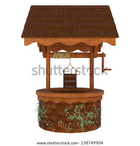 3D digital render of an old wishing well isolated on white background - stock photo