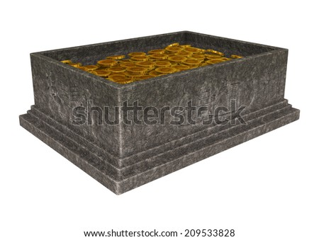3D digital render of an open treasure chest isolated on white background - stock photo