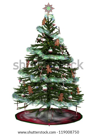 3D digital rendered illustration of decorated christmas tree on white background. - stock photo