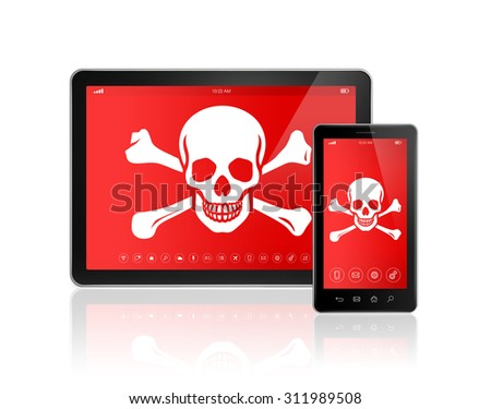 3D Digital tablet PC and smartphone with a pirate symbol on screen. Hacking concept - stock photo