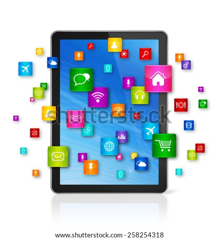 3D Digital Tablet pc with flying apps icons - isolated on white