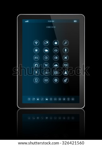 3D digital tablet with apps icons interface - isolated on black with clipping path - stock photo