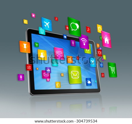 3D Digital Tablet with flying apps icons - isolated on grey