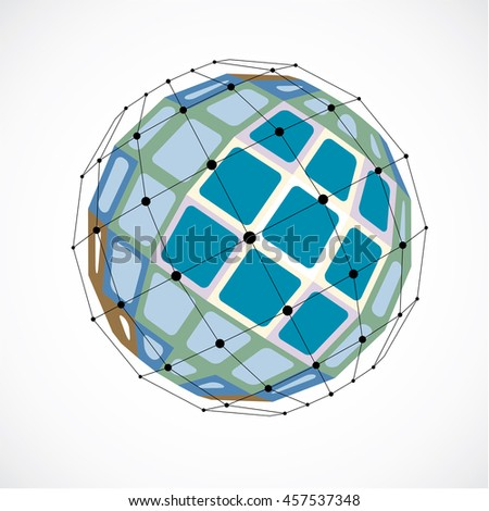 3d digital wireframe spherical object made using facets. Geometric polygonal green structure created with lines mesh and squares. Low poly shape, lattice form for use in web design.