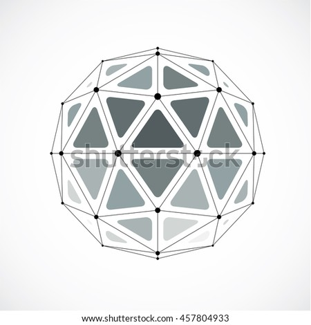 3d digital wireframe spherical object made using triangular facets. Geometric polygonal structure created with lines mesh. Low poly shape, gray lattice form for use in web design.