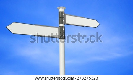 3D. Direction, Choice, Road Sign.