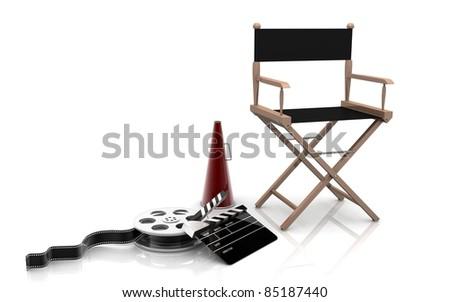 3D Directors chair - stock photo