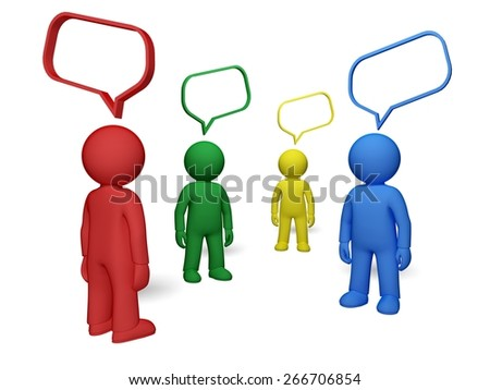 3D. Discussion, Talking, Community. - stock photo