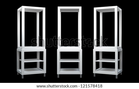 3D Display shelves and shelf on background die cut - stock photo