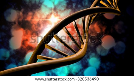 3D DNA strand with vibrant colors for genetics background - stock photo